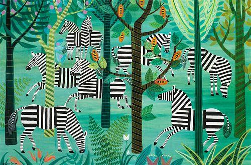 """Dahlov Ipcar (Am. 1917-2017)     -  """"Zebra Wood"""" 1968   -   Oil on canvas"""