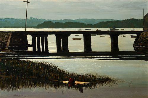 "Stephen Etnier (Am. 1903-1984)     -  ""Railroad Bridge, Wiscasett"" 1968   -   Oil on masonite"