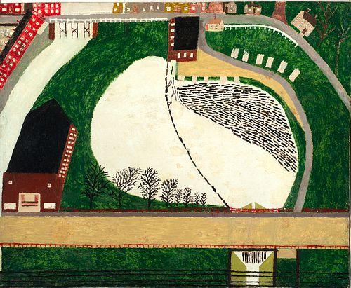 George E. Morgan (Am. 1870-1969)     -  Jewett's Mill, Mill Pond and Logs, Gardiner Maine   -   Mixed media on masonite