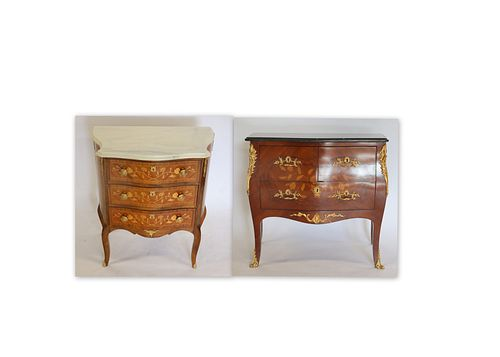 Two Vintage Gilt Metal &  Marble Commodes