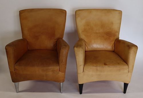 Molinari Signed Pair Of Leather Upholstered Chairs