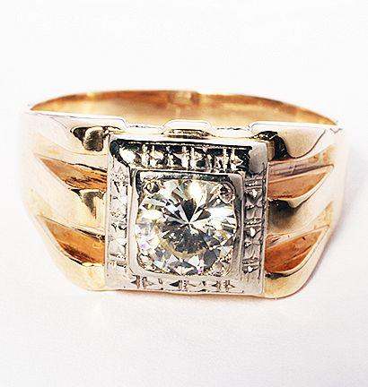 Mens .96 Carat 14 Gold ring