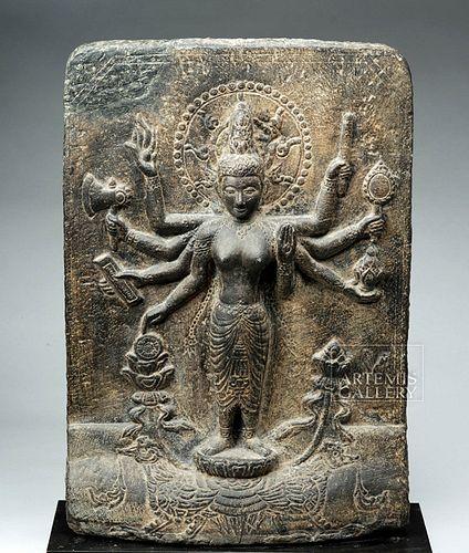 12th C. Indian Pala Stone Stele - Parvati w/ Peahen