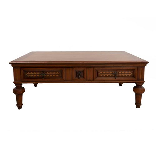 """Coffee table. Mexico. 20th century. Carved in Alfonso Marina wood. Rectangular top. 19.6 x 55.9 x 39.7"""" (50 x 142 x 101 cm)"""