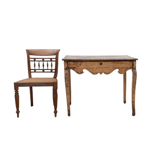 """Desk and chair. 20th century. Carved in wood. Rectangular top, drawer, shafts and semi-curved supports. 29.9 x 37.4 x 23.6"""" (76 x 95 x 60 cm)"""