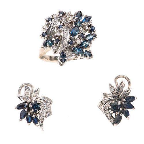 Anillo y par de aretes vintage con zafiro y diamantes en plata paladio. 27 zafiros corte marquís y redondo. 28 diamantes