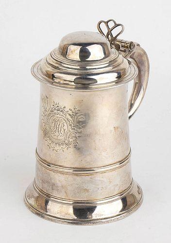An English sterling silver Georgian tankard - London 1766, Wm. Tuite ?