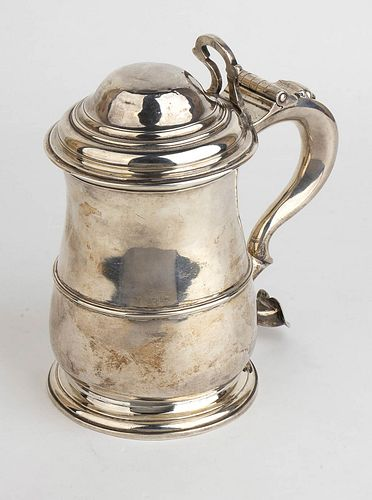 An English sterling silver Georgian tankard - London 1738, Gabriel Sleath