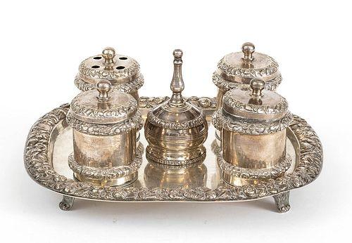 An Italian silver 833/1000 inkwell - Naples 1832-1872
