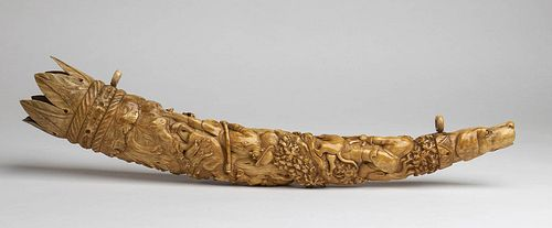 A German ivory oliphant (hunting horn) - 19th Century