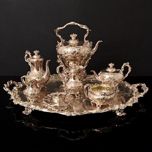 John S. Hunt 7 Piece Victorian Sterling Silver Tea & Coffee Set