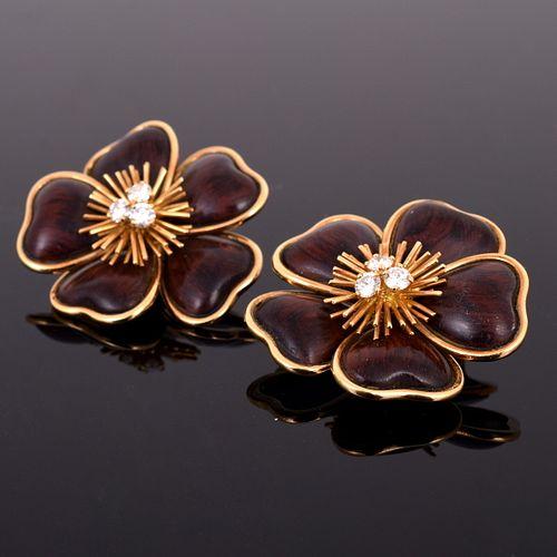 Van Cleef & Arpels 18K Gold, Diamond & Rosewood Earrings