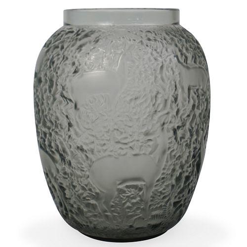"""Lalique """"Biches"""" Smokey Gray Vase"""