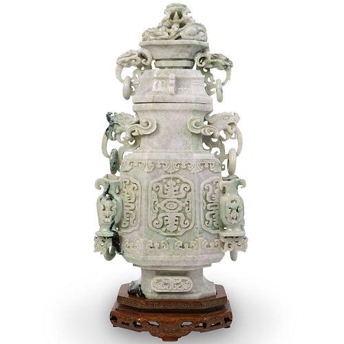 Large Chinese Hand Carved Jadeite Urn