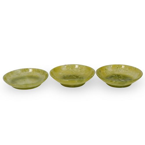 (3 Pc) Antique Chinese Jade Carved Mini Bowls