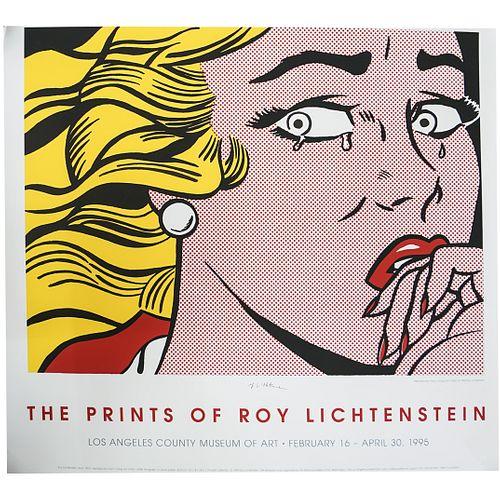 """Roy Lichtenstein (American,1923-1997) """"Crying Girl"""" Exhibition Poster"""