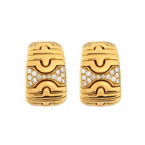Bulgari Diamond and 18K Earrings