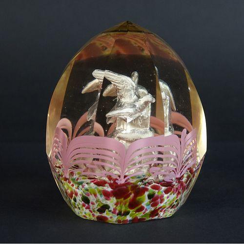 6' silAntique Bohemian Czech Art Glass Paperweight