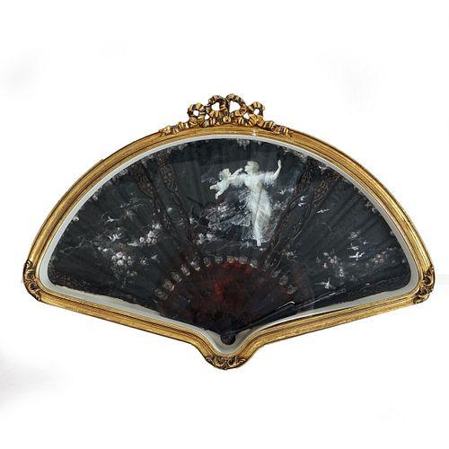 Antique Tortoise Shell and Silk Folding Fan