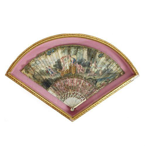 Antique European School Folding Fan
