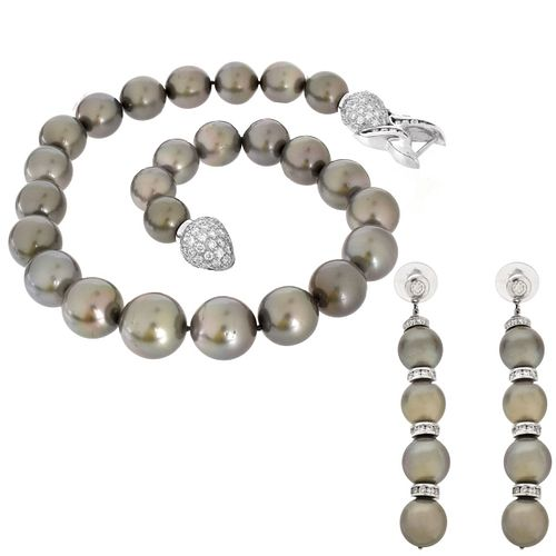 Pearl, Diamond and 14K Necklace and Earrings