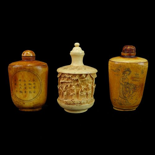 Three (3) Large Chinese Bone Snuff Bottles