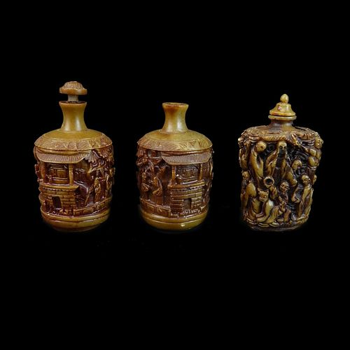 Three (3) Chinese Deep Relief Snuff Bottles