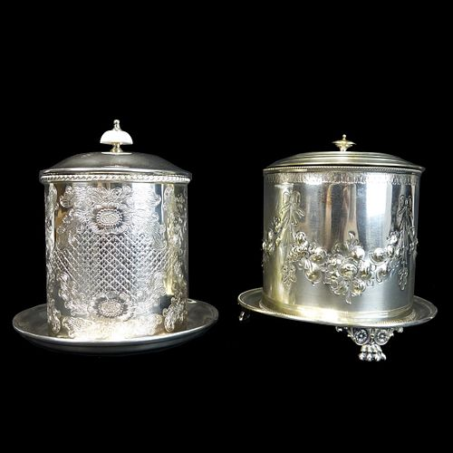 Two (2) English Silver Plated Tea Caddies