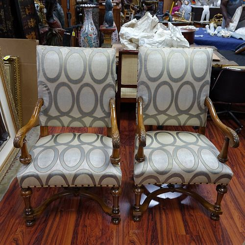 Pair of French Louis XIII Style Armchairs