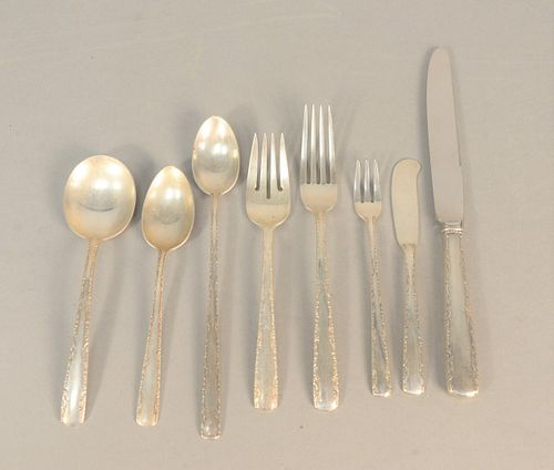 One hundred and forty-eight piece lot Gorham sterling flatware, 'Camellia' set to include twelve salad forks, twelve dinner forks, twelve dinner knive