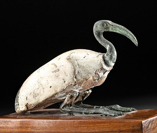 Egyptian 25th Dynasty Bronze / Gesso'd Wood Sacred Ibis