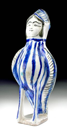 14th C. Medieval Seljuq Glazed Pottery Vessel - Harpy