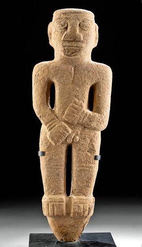 Tall Costa Rican Stone Peg-Based Figure Nude Male