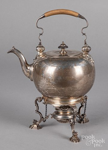 English silver hot water kettle, 1903-1904