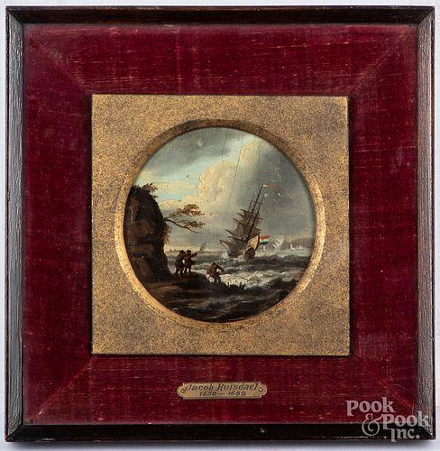 Miniature oil on board coastal scene with ship