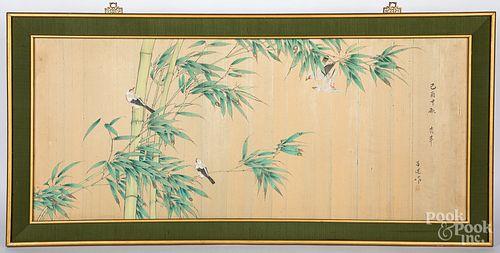 Japanese painted silk panel