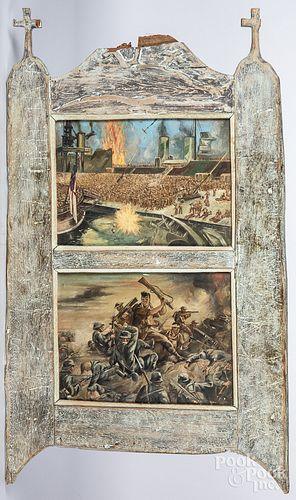 Two oil on board military scenes