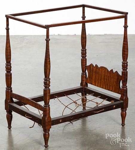 Tiger maple doll's canopy bed, 19th c.