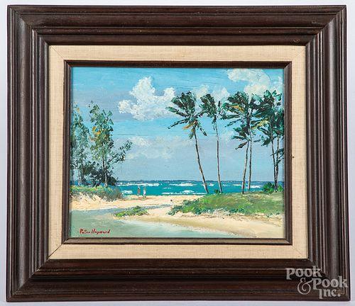 Peter Hayward, oil on canvas coastal scene
