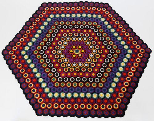 Multipiece Wool Penny Rug, 20th Century
