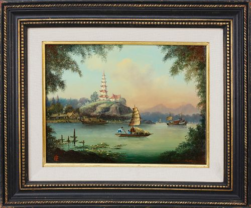 "Michael Matthews Chinese Export Style Oil , ""Pagoda at Whampoa Reach"""