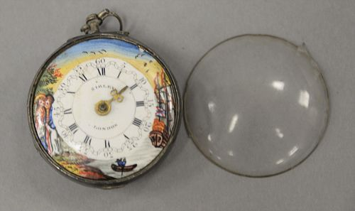 Sibley Fusee pocket watch with enameled face marked Sibley London, 48mm, in silver case.