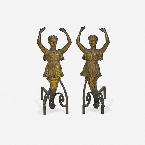 Continental, Grecian figural andirons, pair