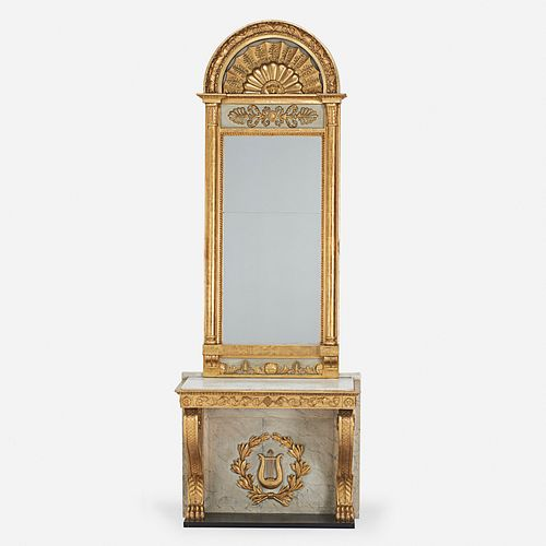 Swedish, neoclassical mirror and console table