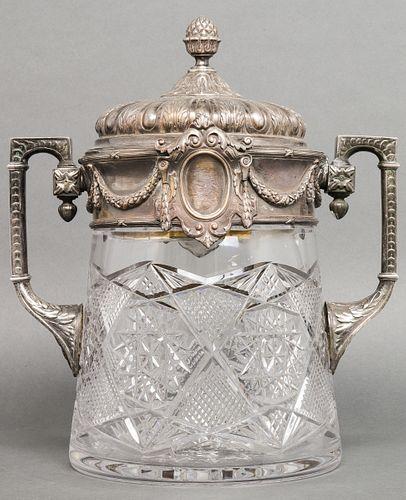 Russian Silver & Cut Crystal Punch Bowl