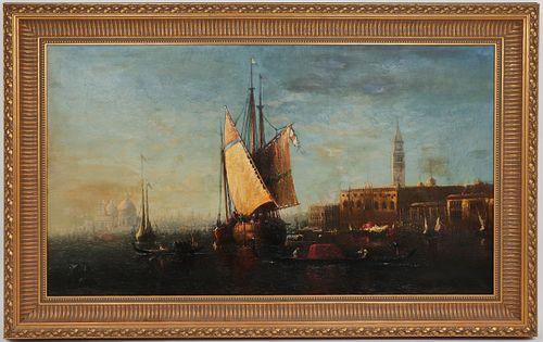 G.L. Brown Attr. Venetian Grand Canal Scene, Oil