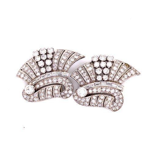 Art Deco Platinum Diamond Double ClipÊ