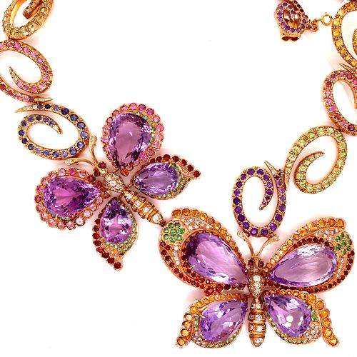 18k Multicolor Butterfly NecklaceÊ