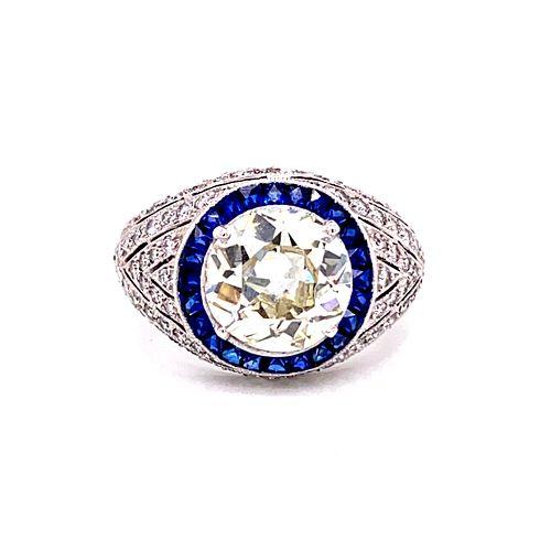 Art Deco Platinum Sapphire Diamond RingÊ