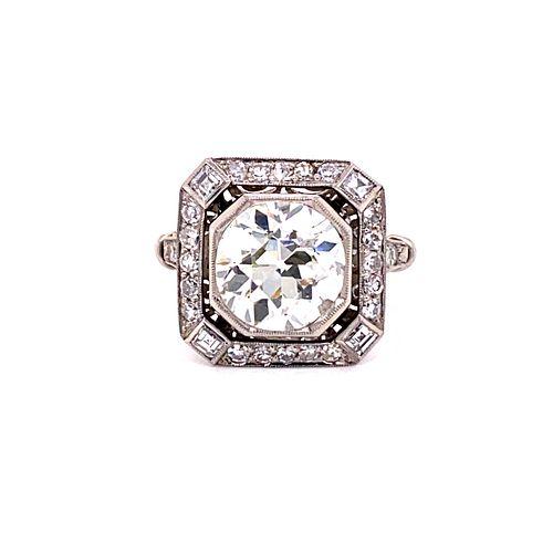 Art Deco Platinum Engagement Diamond RingÊ